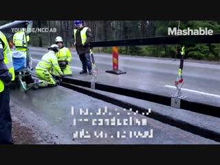 В швеции есть дорога которая подзаряжает электрические легковые автомобили, автобусы и гру.mp4