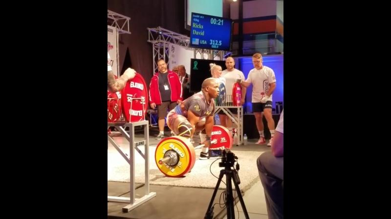Дэвид Рикс - тяга 312,5 кг