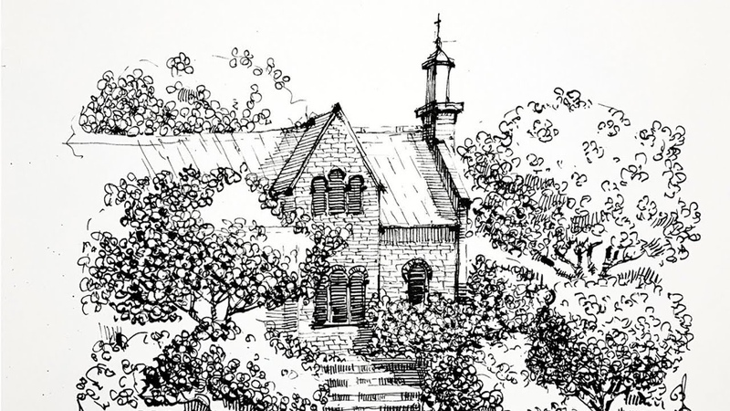 Landscape sketching, landscaping, black and white graphics