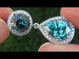 GIA Certified FLAWLESS Natural Blue Zircon Diamond 18k White Gold Pendant Necklace - C335