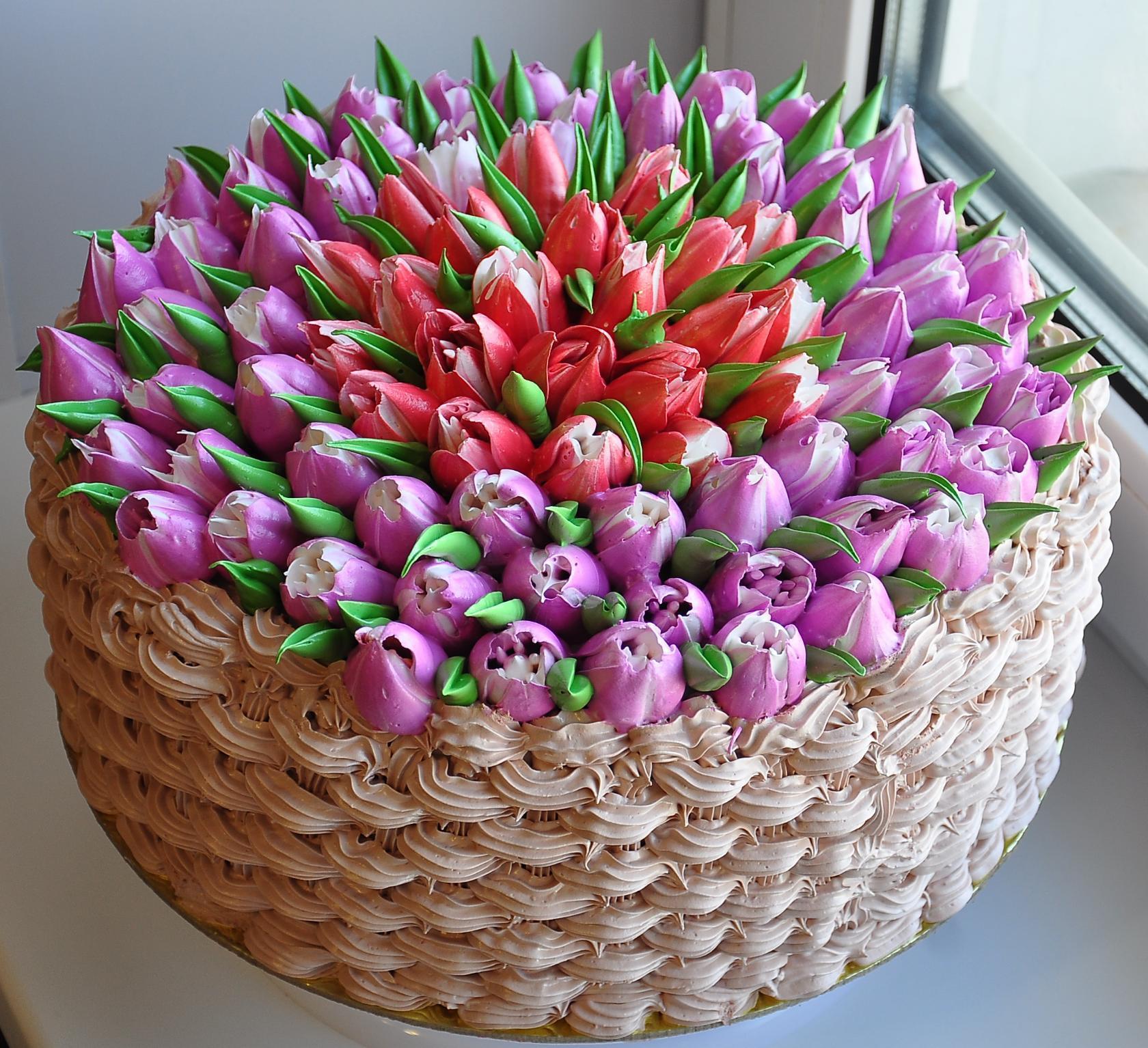 фото торт с тюльпанами из сливок походе важно отравиться