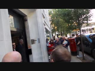 Benedict Cumberbatch signing autographs when he was leaving the BBC Radio 2 in London.