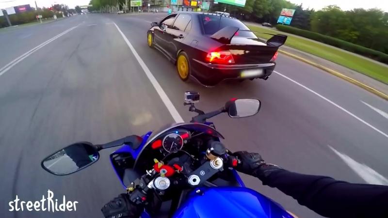 встреча любителей понаваливать -- Mitsubishi EVO 8 vs Yamaha R6