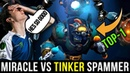 Miracle- Spectre vs BEST TOP-1 Tinker Spammer Funkefal! Highest Rank Dota 2