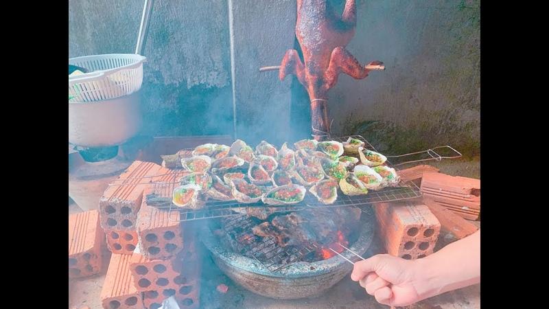 Nướng 5kg hàu siêu cay 1000 độ kèm gà đông tảo chấm mắc khén - Grill oysters , chicken foot big