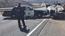 Police Cars Pushes Disabled Destroyed Car. COOL COPS