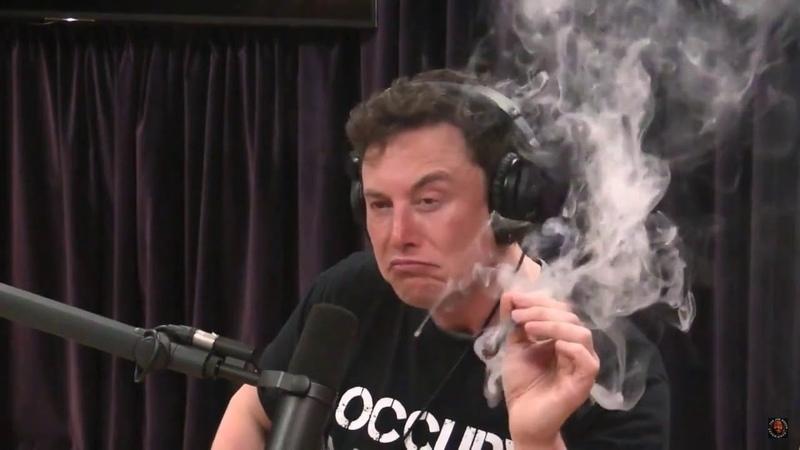Илон Маск курит марихуану в ефире
