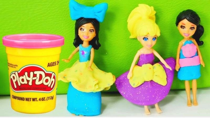 PlayDoh Schule. Wir machen aus Knete Kleider für die Puppen.