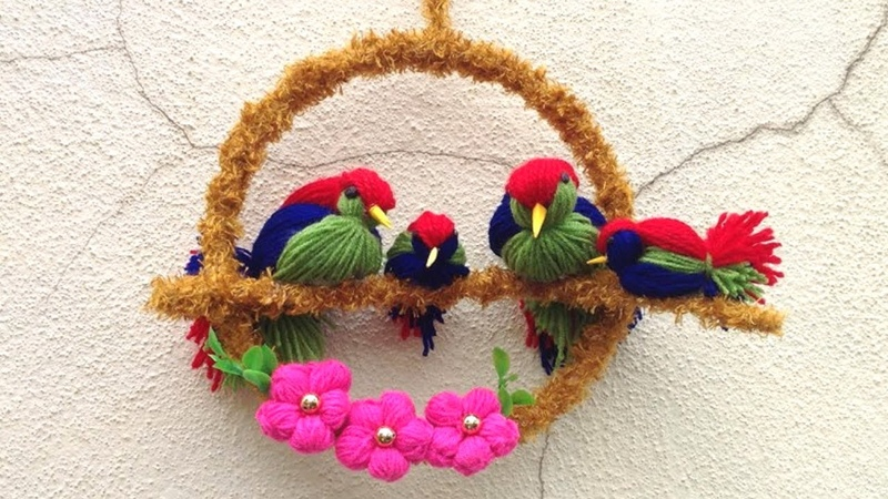 DIY Bird wall decorbest reuse idea lovebird makingBest out of waste