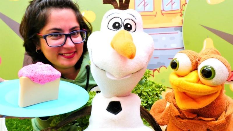 Çocuk videoları. Karlar Ülkesi Olafın kek ülkesine yolculuğu. Yemek yapma oyunu