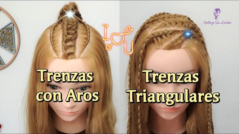 Trenzas con Aros de Cabello y Trenzas Triangulares con Rizos by Belleza sin Limites