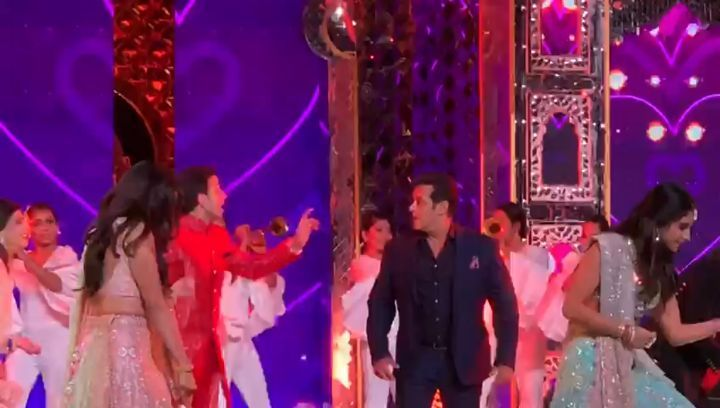 """@beingsalmankhan on stage with AnantAmbani RadhikaMerchant dances to @iamsrk's classic 'Koi Mil Gaya' from Kuch..."