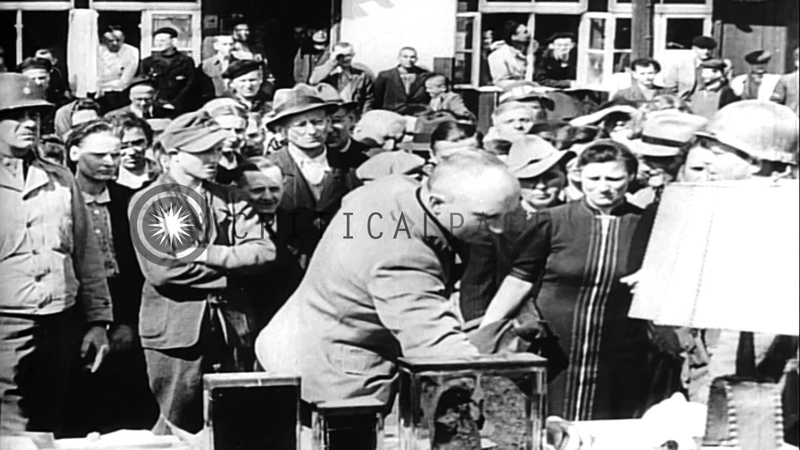Civilians of a town, Wiemar on a forced visit to the Buchenwald concentration cam...HD Stock Footage