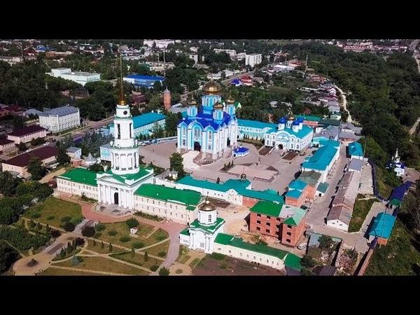 Город Задонск с высоты птичьего полета Съемки Задонского монастыря и Никольской церкви