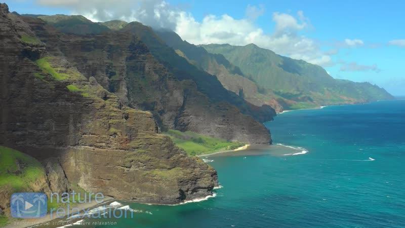 Гавайи США Полет над островом Кауаи под музыку для снятия стресса Hawaii USA