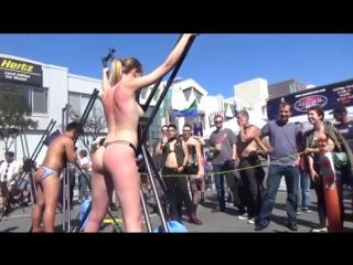 Girl whipped. folsom street fair. san francisco, usa.