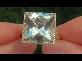 Certified Jewelry Natural Green Amethyst &amp Diamond 14k Yellow Gold Ring - A141727