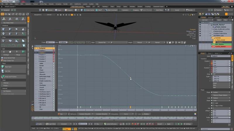 MODO 12.1 Smooth Flat Key Slope   Animation
