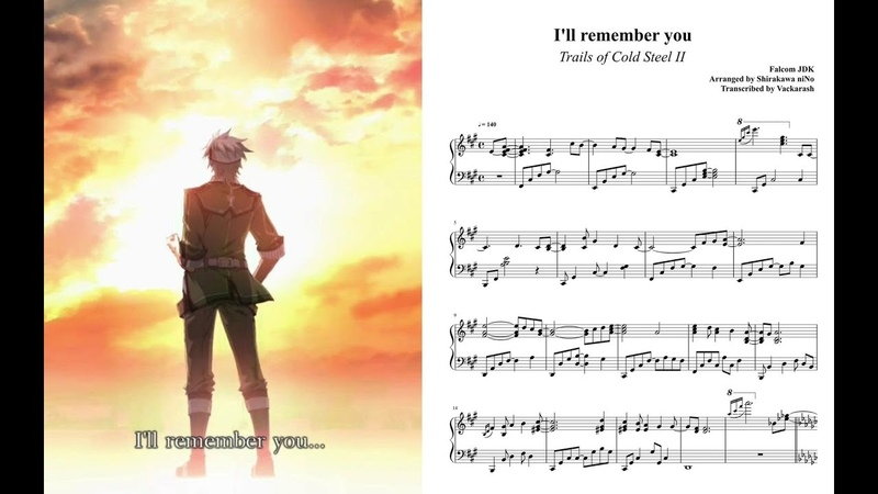Trails of Cold Steel II - Ill remember you | Piano Sheet Music