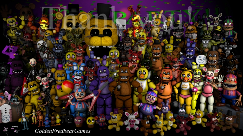 Голоса аниматроников (под песню) из FNaF 1,2,3,4, Sister Location, TJOC R, Five Nights at Drawkills, Sinister Turmoil и др.