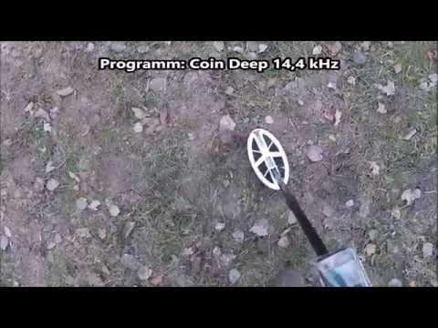 Sondeln - der neue XP ORX ELL - Test mit flach und hochkant liegenden Münzen.