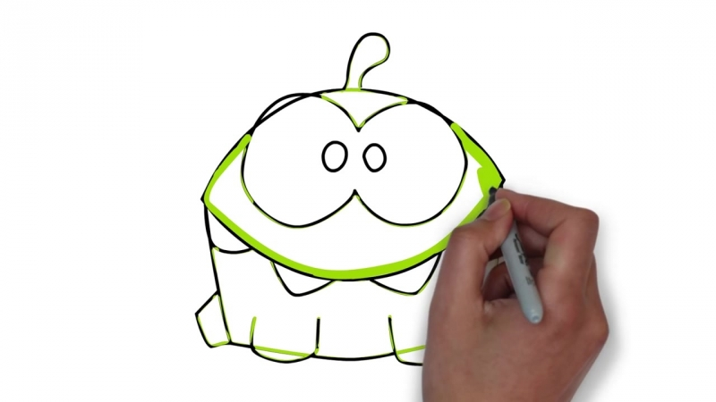 Рисуем Ам Няма из игры Cut the rope - How to draw Om Nom for Kids [МультКара.mp4