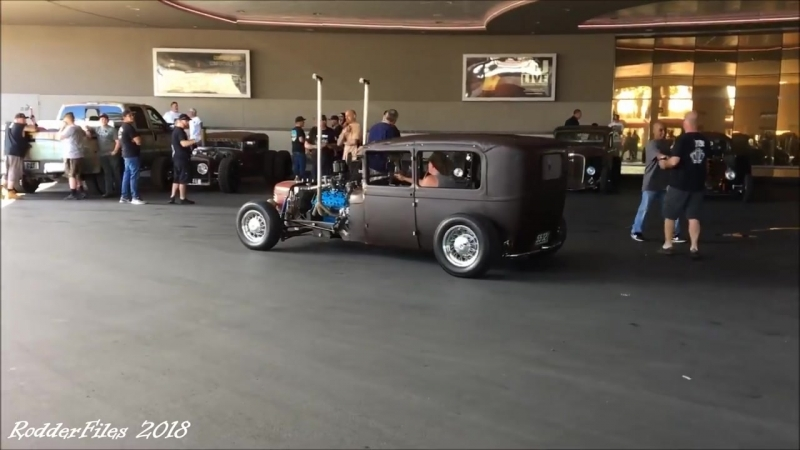 Rat Rods at Stratosphere Las Vegas valet Friday , ready for RatCity Rukkus rodderfiles