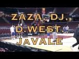 Zaza Pachulia, David West, JaVale McGee, Damian Jones splashing at practice in Cleveland, day b4 G4