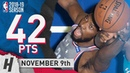 Joel Embiid Full Highlights 76ers vs Hornets 2018.11.09 - 42 Pts, 4 Ast, 18 Rebounds!