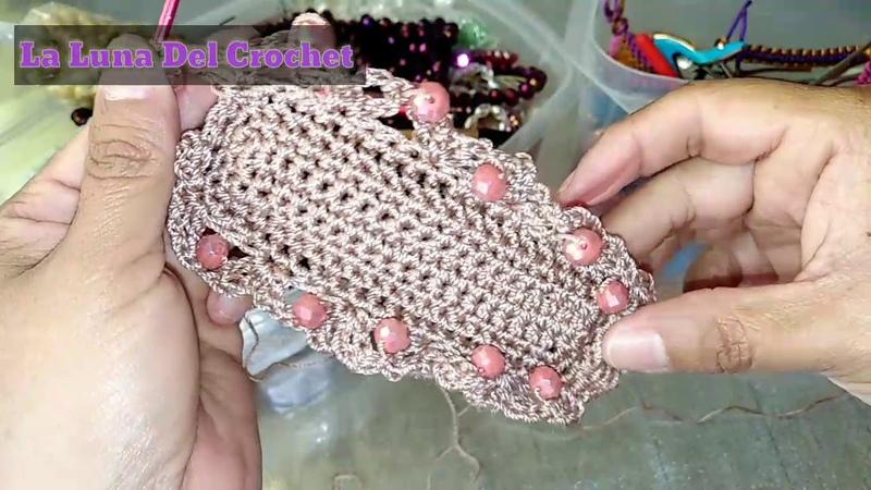 Monedero Tejido a Crochet En Punto Ala De Mosca Con Perlas