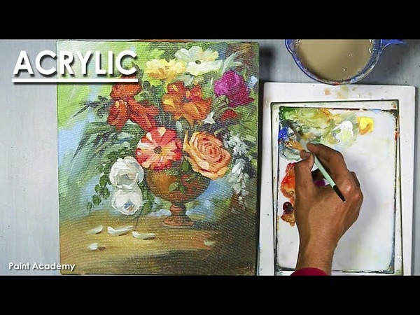 Acrylic painting Flower vase step by step