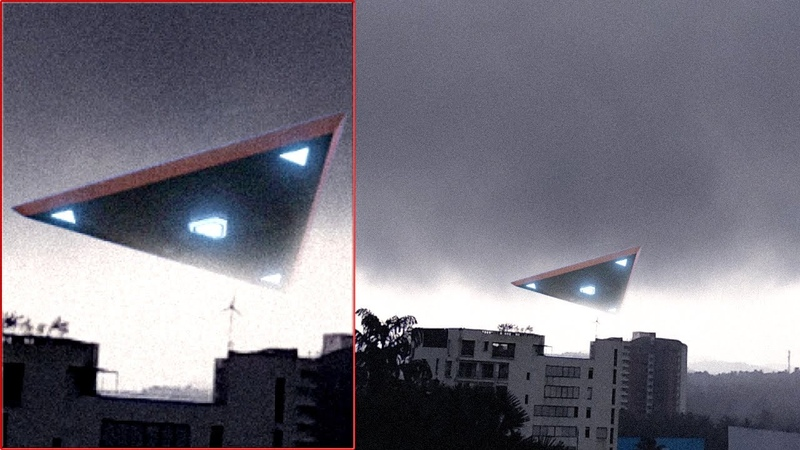 Triangle-shaped UFO video leaked | UFO Hiding In Dense Cloud