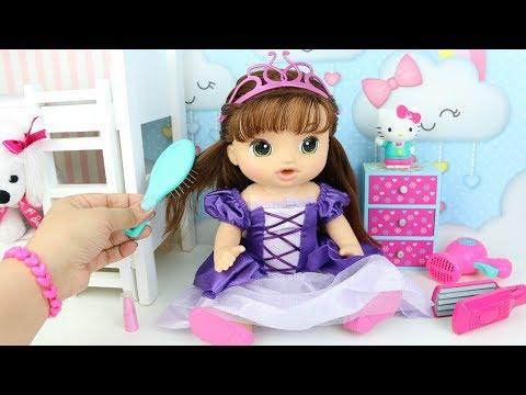BABY ALIVE RAPUNZEL Minha Boneca se Arrumando para Festa com Roupa de Princesa e Cabelo Comprido