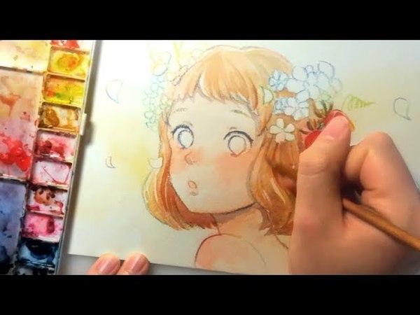 画材紹介&透明水彩メイキング