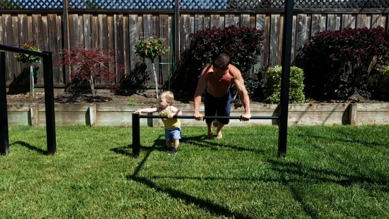 Dad Works Out With Son