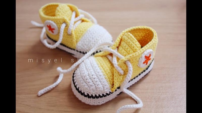 Cara membuat sepatu rajut bayi converse dengan mudah || crochet baby booties converse