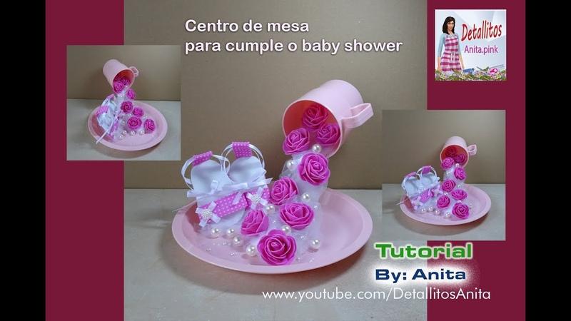 Taza suspendida en el airecentro de mesa para cumple o baby shower