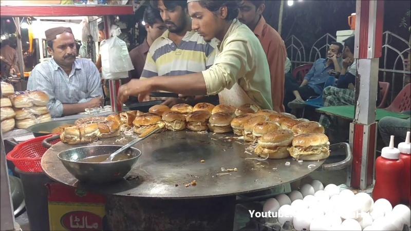 Food Street Pakistan - Anda Bun Kabab Street Food of Karachi Pakistan