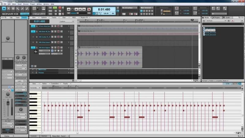 Cakewalk Sonar X3. Les. 16. Linking, splitting, combining clips. Fade-in, fade-o