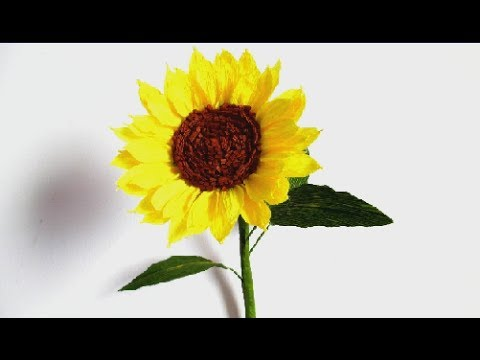 How To Make Sunflower From Crepe Paper-Paper Craft-Paper Flower Tutorial