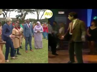 Theresa May vs Mr Bean dance off.