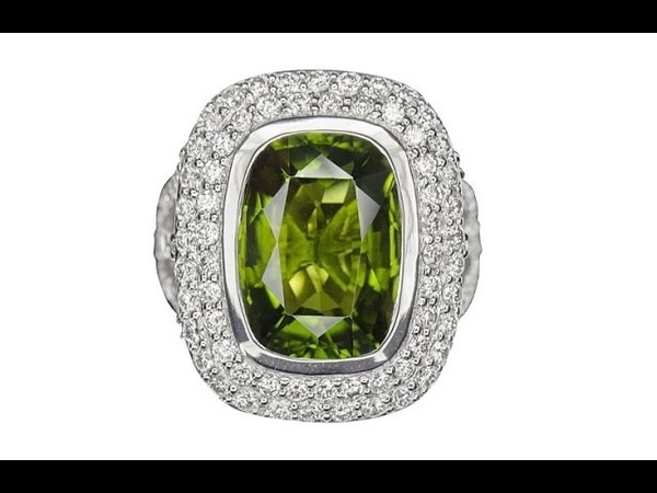 GIA Certified Natural VVS Chrome Tourmaline Diamond 18k White Gold Estate Ring - C809
