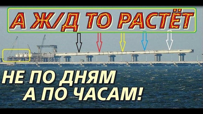 Крымский(17.04.2018)мост! Надвижка ЖД пролётов с Крыма и Тамани! Мост растёт быстро! Обзор!