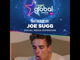 A LOT of likes for the next winner youve voted @Joe_Sugg this years Social Media Superstar! Congrats JoeSugg TheGlobalAwards