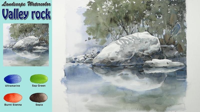 기초 풍경수채화-계곡 바위(wet-in-wet, 아르쉬 황목)남일수채화. Valley rock - Basic landscape watercolor(Arches)