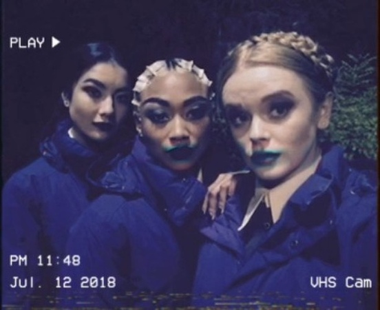"""Adeline Rudolph on Instagram: """"@SabrinaNetflix - Let the harrowing begin 😈 Your WeirdSisters @abbeycowen @tatigabrielle on CAOS"""""""