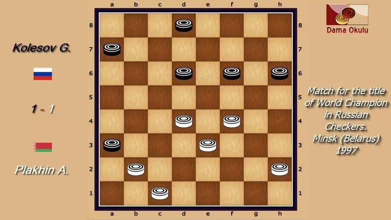 Plakhin A. (BLR) - Kolesov G. (RUS). WK-match. Russian Checkers_Men- 1997.