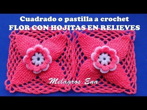 Cuadrado a crochet FLOR CON HOJITAS EN RELIEVES para colchas y cobijas de bebe paso a paso