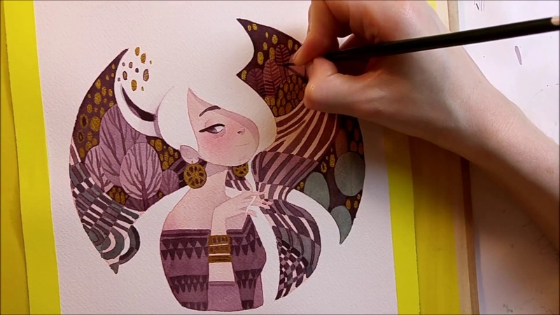 Watercolor Illustration Art Deco Portrait with gold color work in progress painting by Iraville