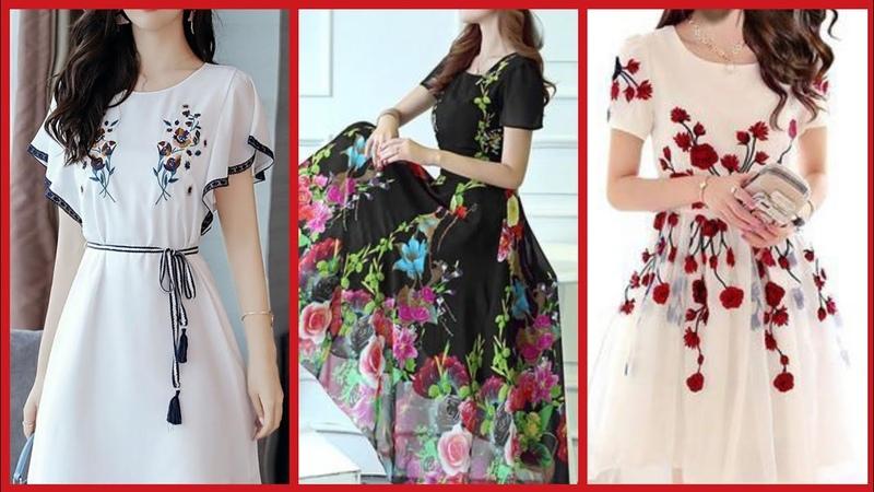 Beautiful floral print chiffon mini dresses collectionknee length chiffon dresses